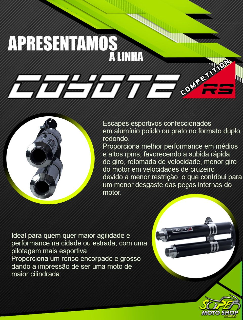 Escape / Ponteira Coyote Competition Duplo em Alumínio - Duke 390 / 200 - KTM
