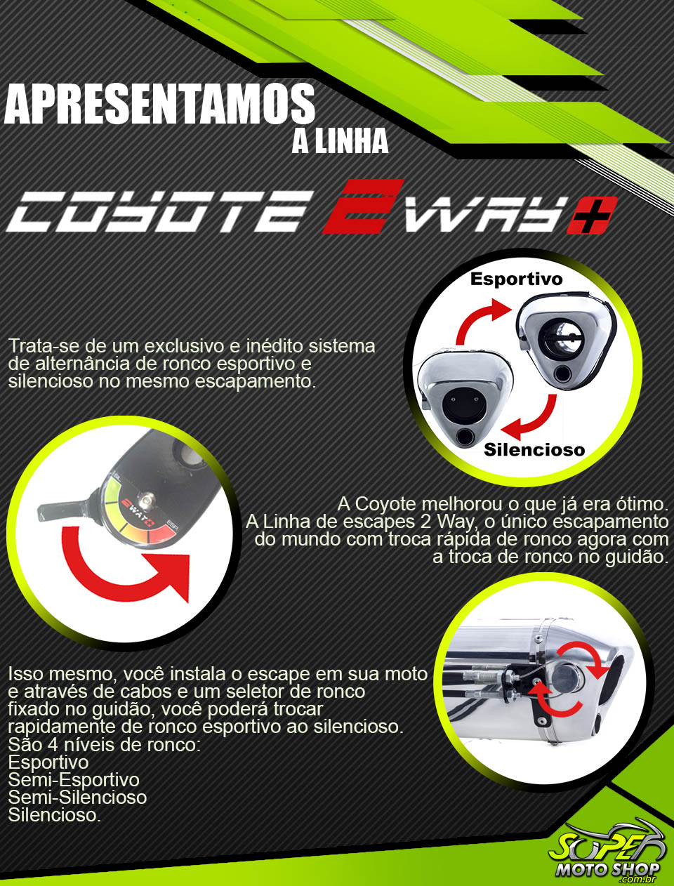 Escape / Ponteira Coyote Modelo TRS 2 Way + Mais em Alumínio - ADV 150 - Honda