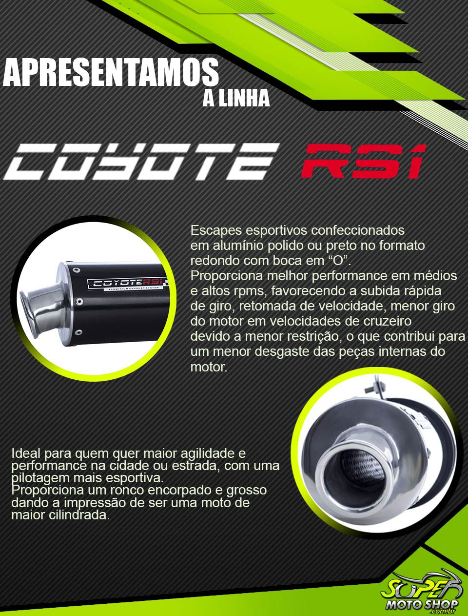 Escape / Ponteira Coyote RS1 Aluminio Redondo - Lander XTZ 250 até 2018 - Yamaha