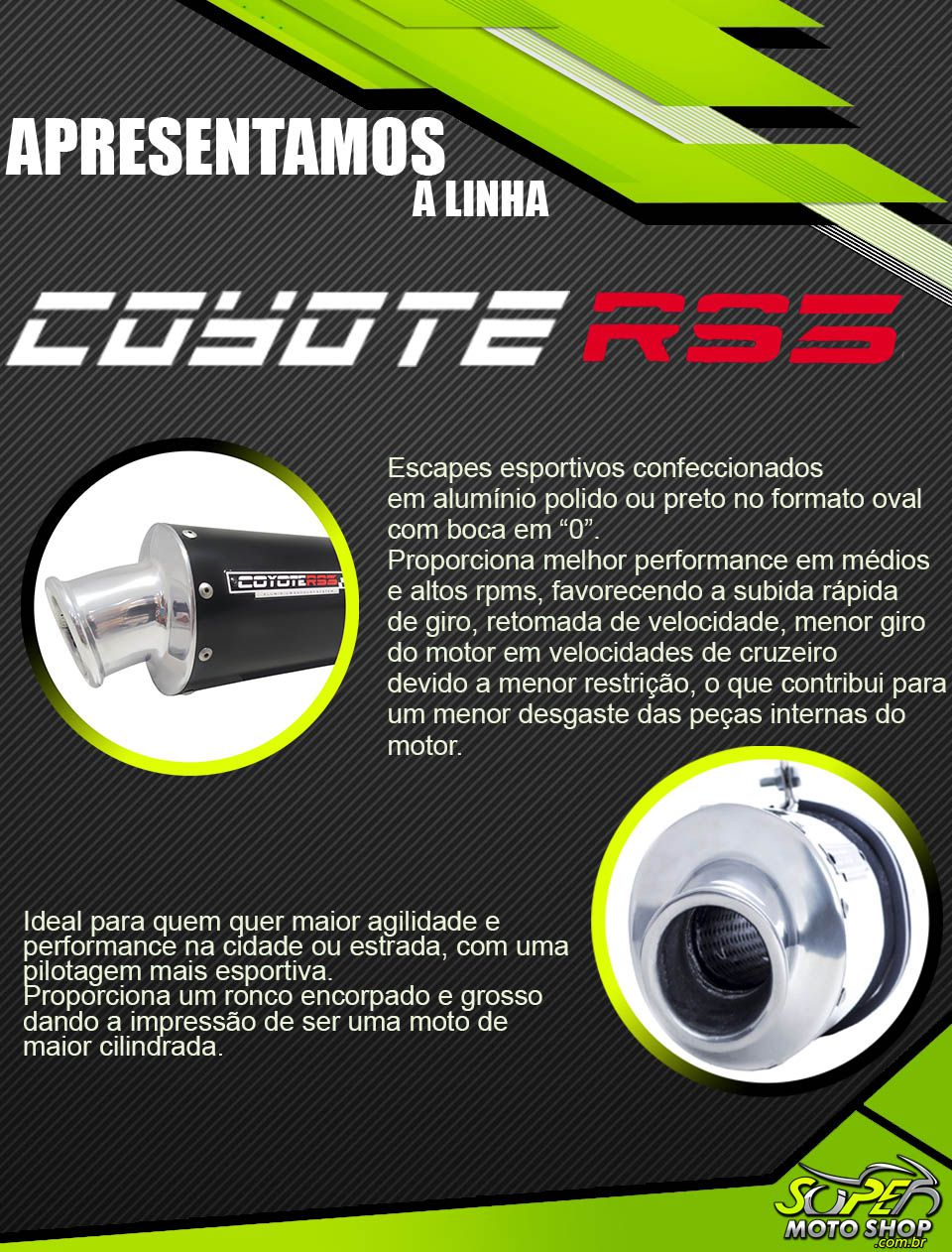 Escape / Ponteira Coyote RS3 Alumínio Oval - Biz 125 até 2010 - Honda
