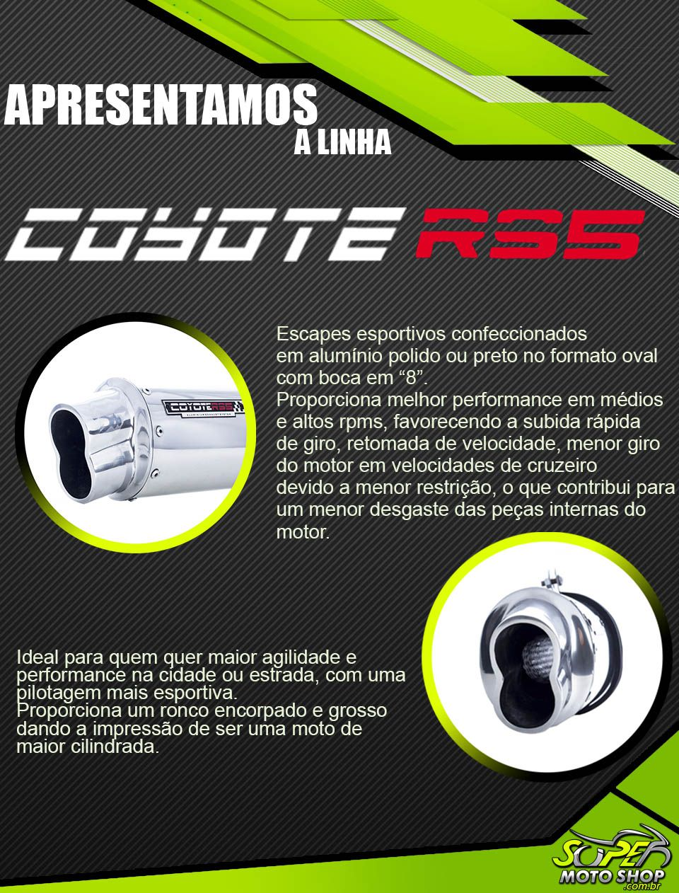 Escape / Ponteira Coyote RS5 Boca 8 Aluminio Oval - CG 125 Titan KS 1996 até 1999 - Honda