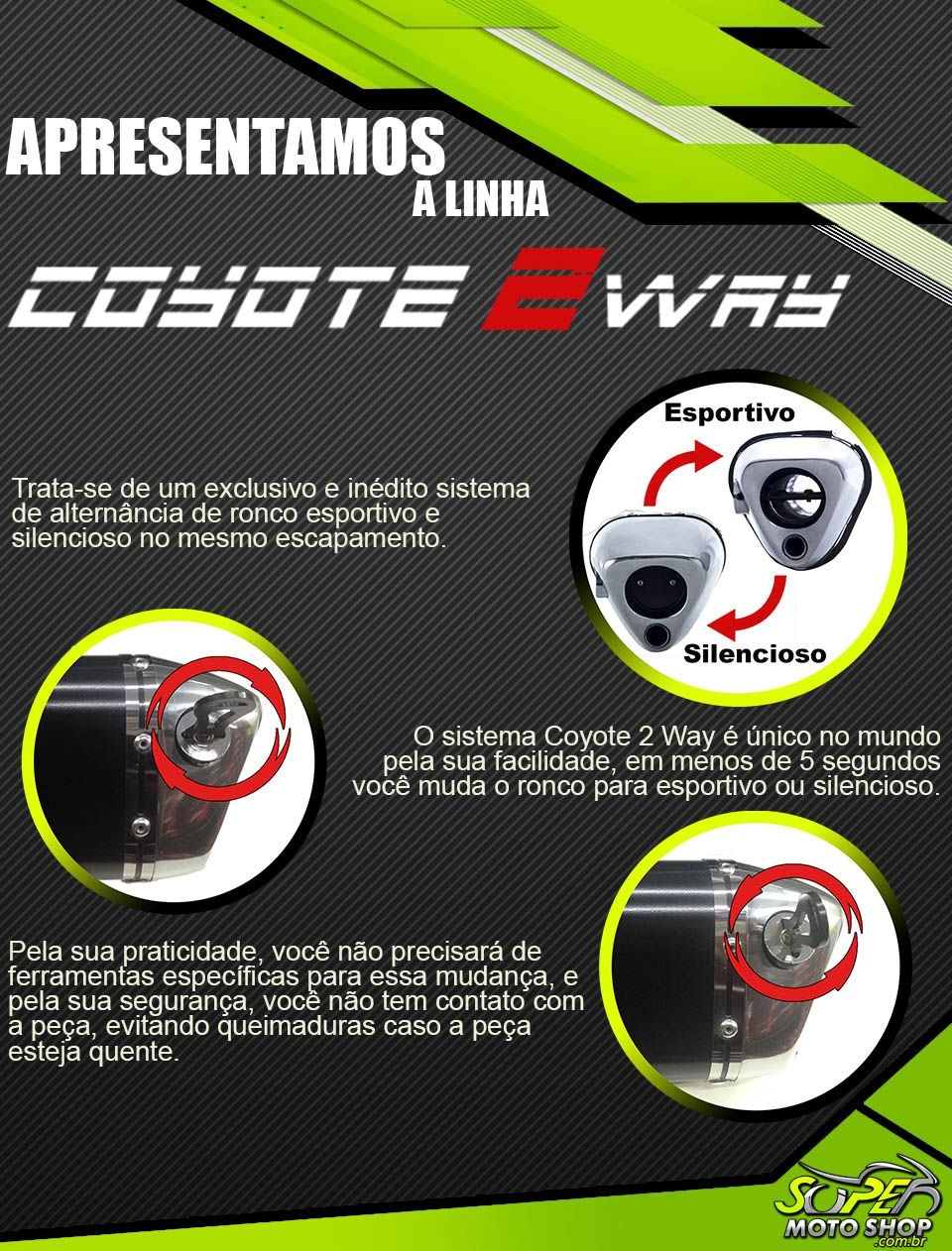 Escape / Ponteira Coyote TRS 2 Way Alumínio - Bandit 650 / 1250 ano 2009 em Diante - Suzuki