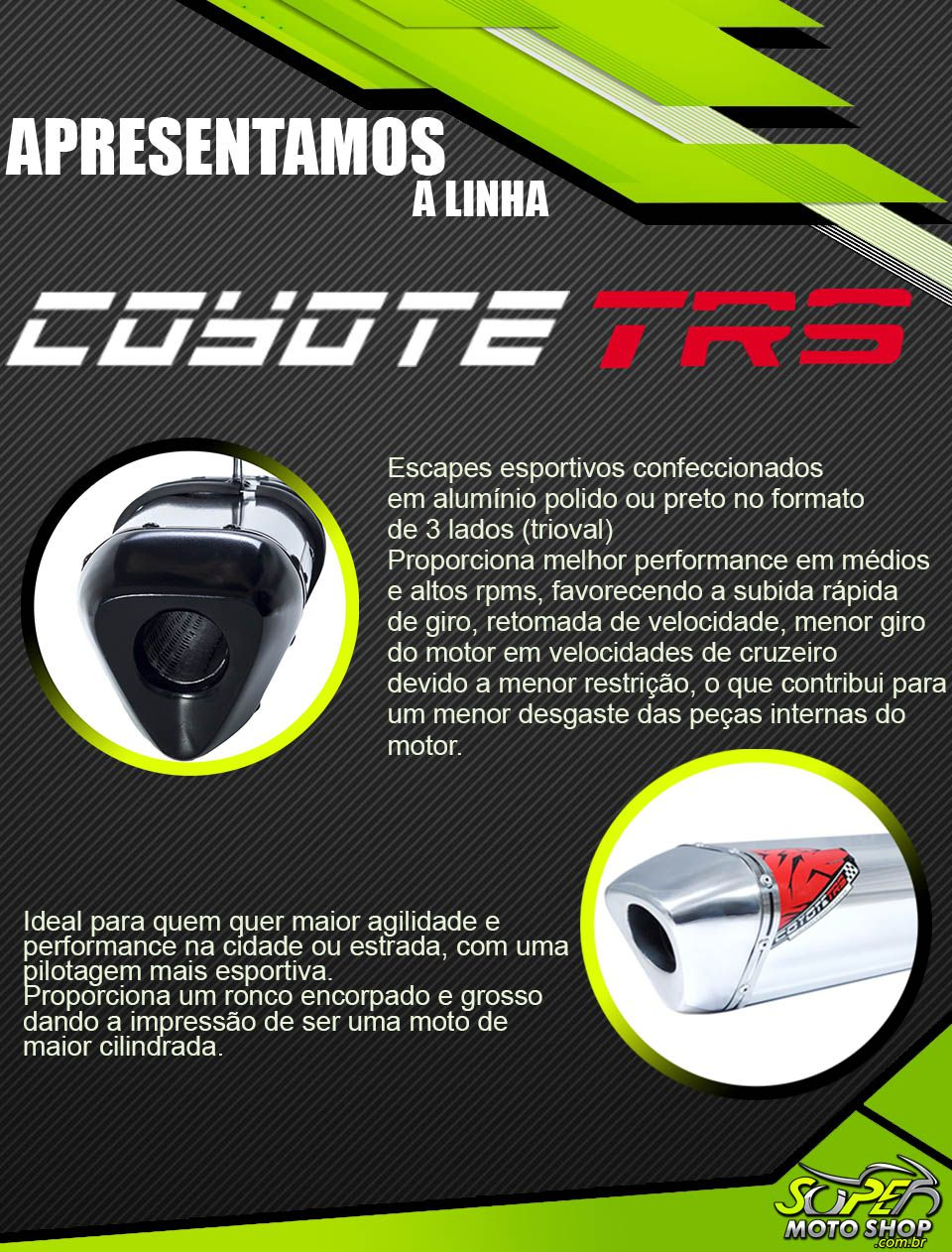 Escape / Ponteira Coyote TRS Tri-Oval Alumínio - CG 125 Titan KS 1996 até 1999 - Honda