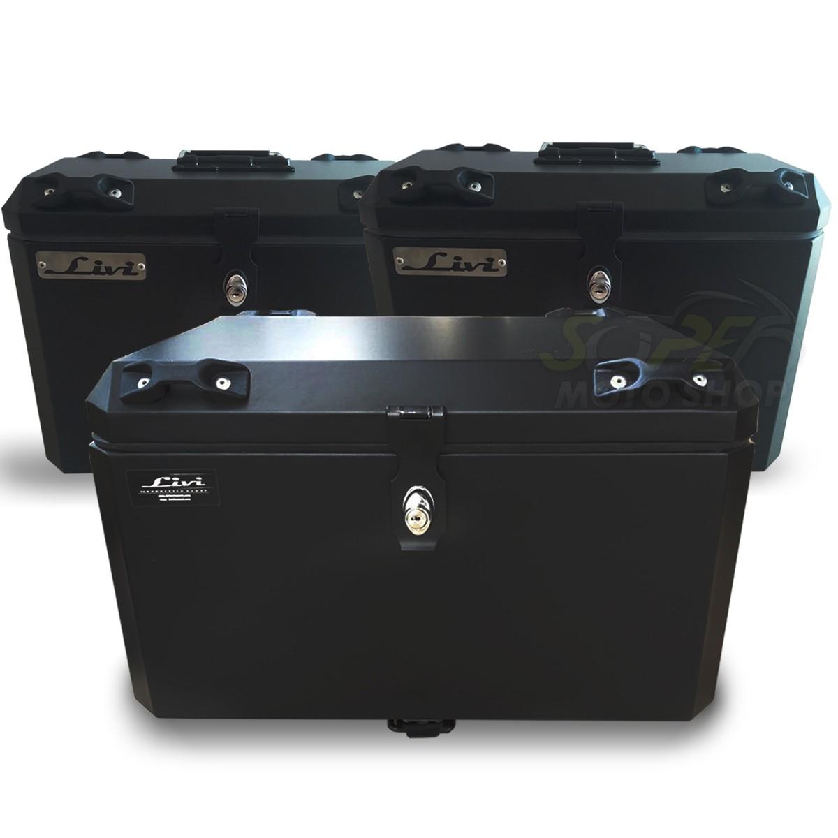 Kit Baú / Bauleto Alumínio Traseiro Top Case + Lateral Side Case + Suporte Para Baú de Alumínio Livi - GS 1200 LC ano 2013 em Diante - BMW