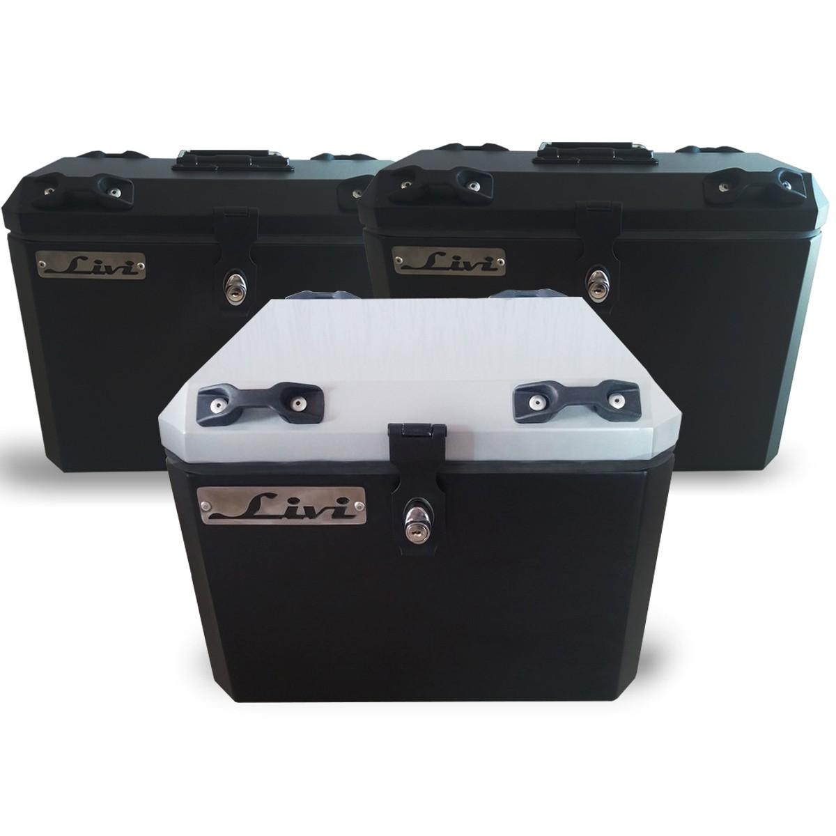 Kit Baú / Bauleto Alumínio Traseiro Top Case + Lateral Side Case + Suporte Para Baú de Alumínio Livi - Himalayan - Royal Enfield