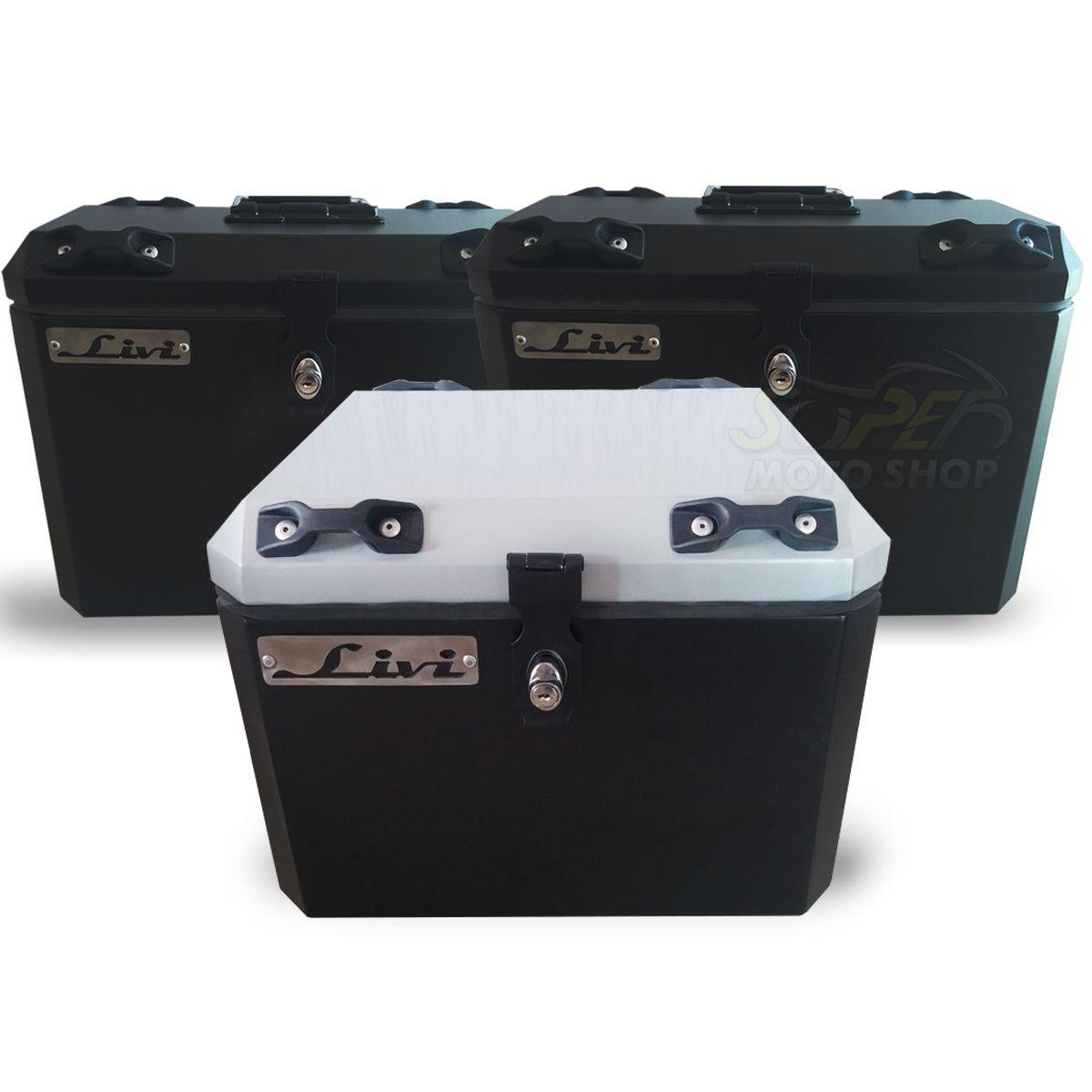 Kit Baú / Bauleto Alumínio Traseiro Top Case + Lateral Side Case + Suporte Para Baú de Alumínio Livi - Super Tenere 1200 - Yamaha