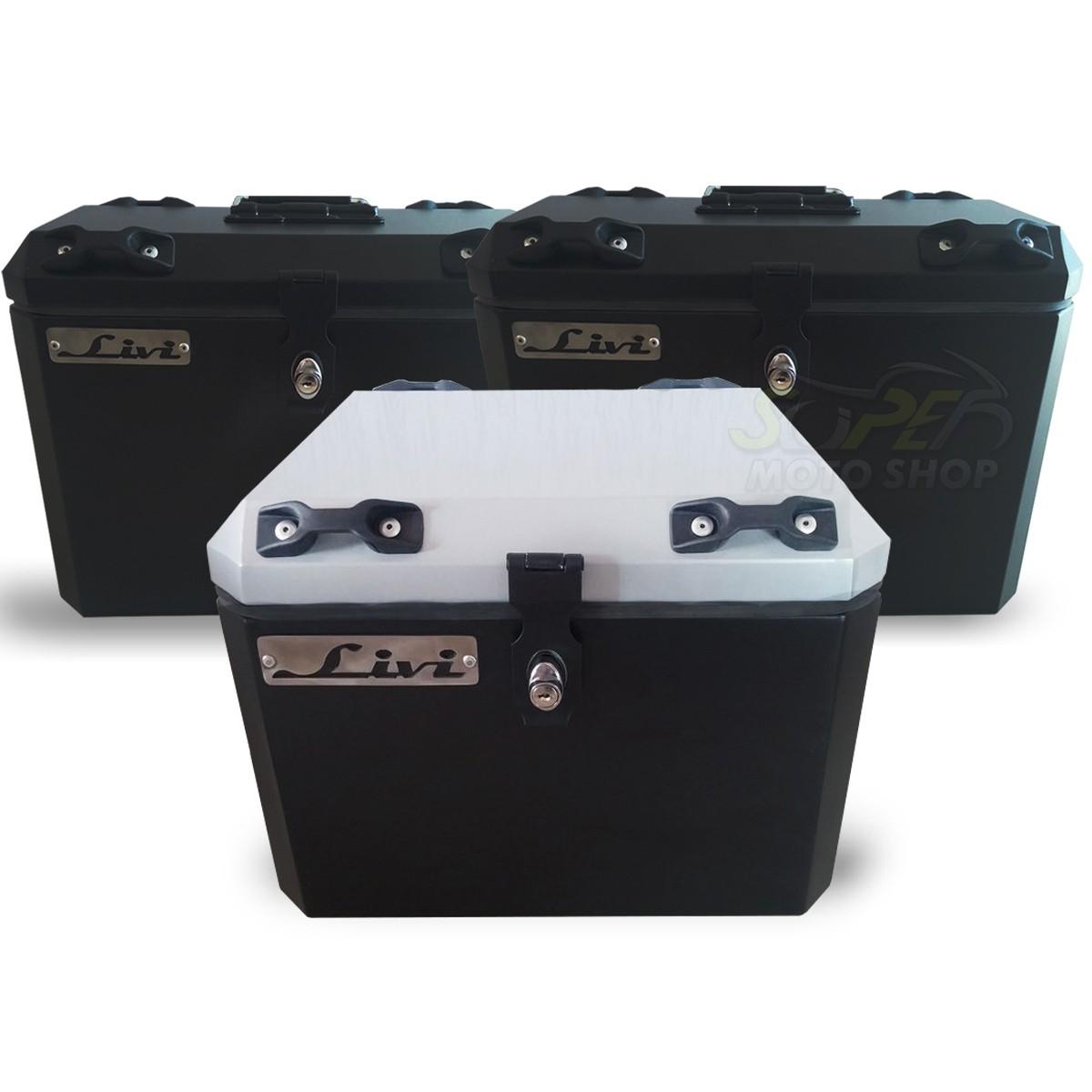 Kit Baú / Bauleto Alumínio Traseiro Top Case + Lateral Side Case + Suporte Para Baú de Alumínio Livi - Transalp 700 - Honda
