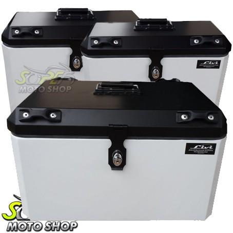 Kit Baú / Bauleto Alumínio Traseiro Top Case + Lateral Side Case + Suporte Para Baú de Alumínio Livi - V-Strom DL 1000 ano 2014 em Diante - Suzuki