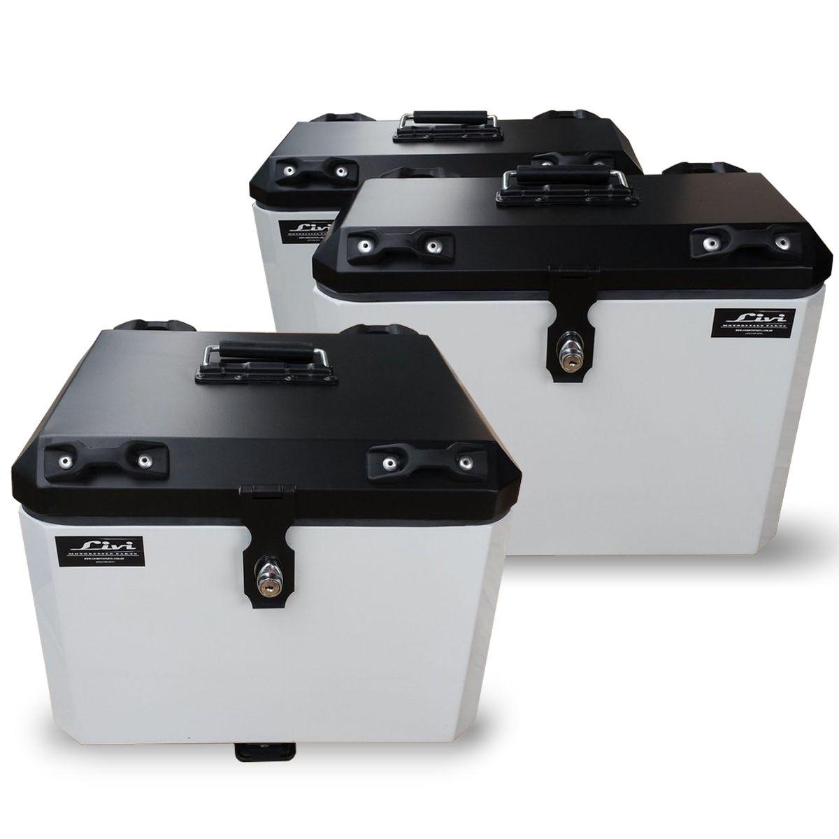 Kit Baú / Bauleto Alumínio Traseiro Top Case + Lateral Side Case + Suporte Para Baú de Alumínio Livi - V-Strom DL 650 até 2012 - Suzuki