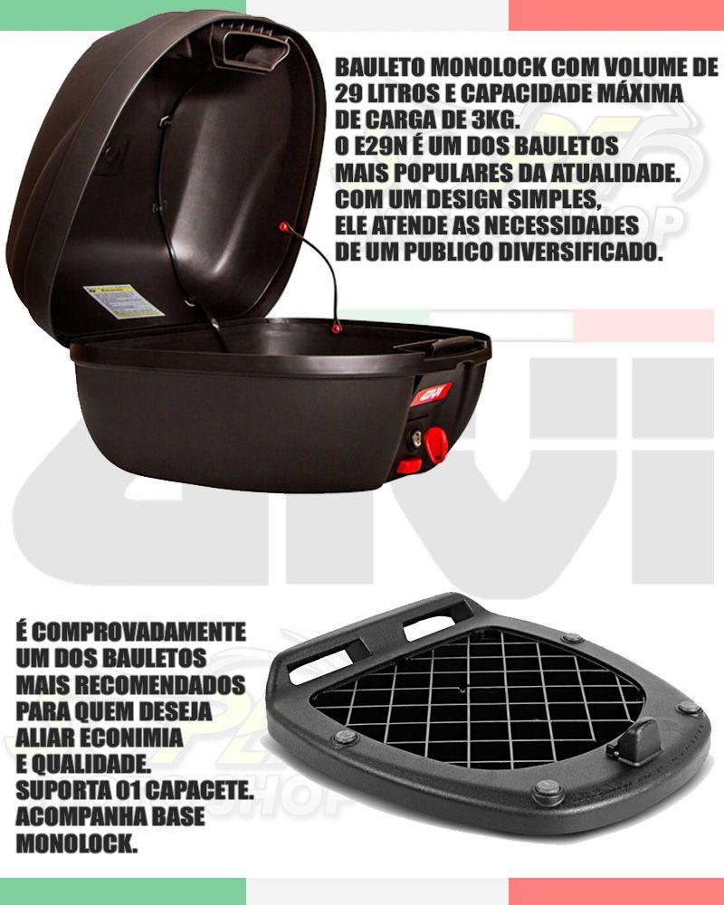 Kit Baú / Bauleto Top Case Givi 29 Litros + Bagageiro / Suporte Scam Liga Leve - Factor YBR 125 ano 2009 até 2015 - Yamaha