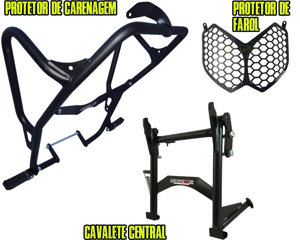 Kit Protetor de Carenagem + Cavalete Central + Protetor de Farol Modelo Coyote - Tenere 250 Todos os Anos - Yamaha