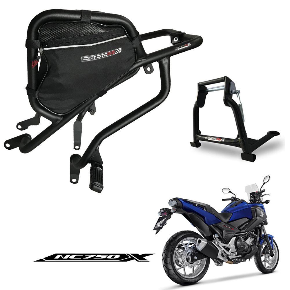 Kit Protetor de Carenagem COM Bolsa Direita + Cavalete Central Modelo Coyote - NC 700 / 750 X - Honda