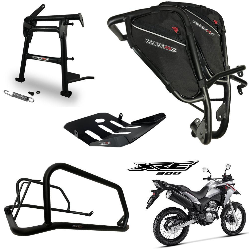 Kit Protetor de Carenagem COM Bolsas Direita e Esquerda + Traseiro + Carter + Cavalete Central Modelo Coyote - XRE 300 - Honda