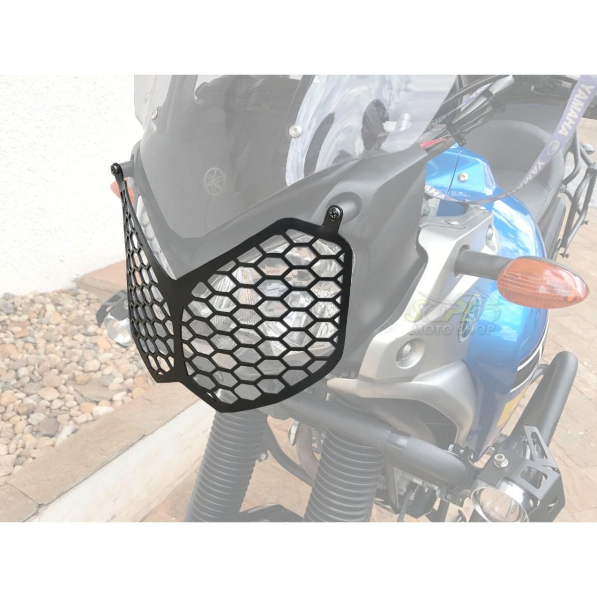 Kit Protetor de Farol Coyote + Protetor de Motor e Carenagem Coyote Preto com Pedais - Tenere 250 Todos os Anos - Yamaha