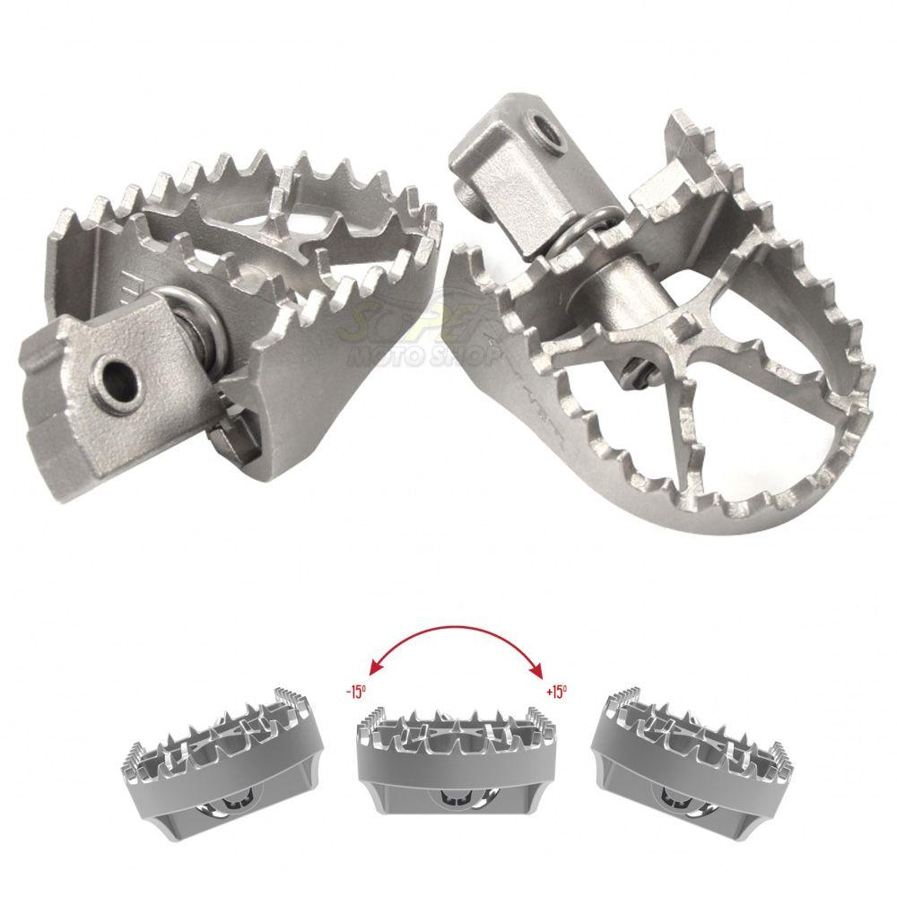 Pedaleiras em Aço Inox Articuladas Modelo Anker - CRF X/R 250/450 CR 125/250 - Honda