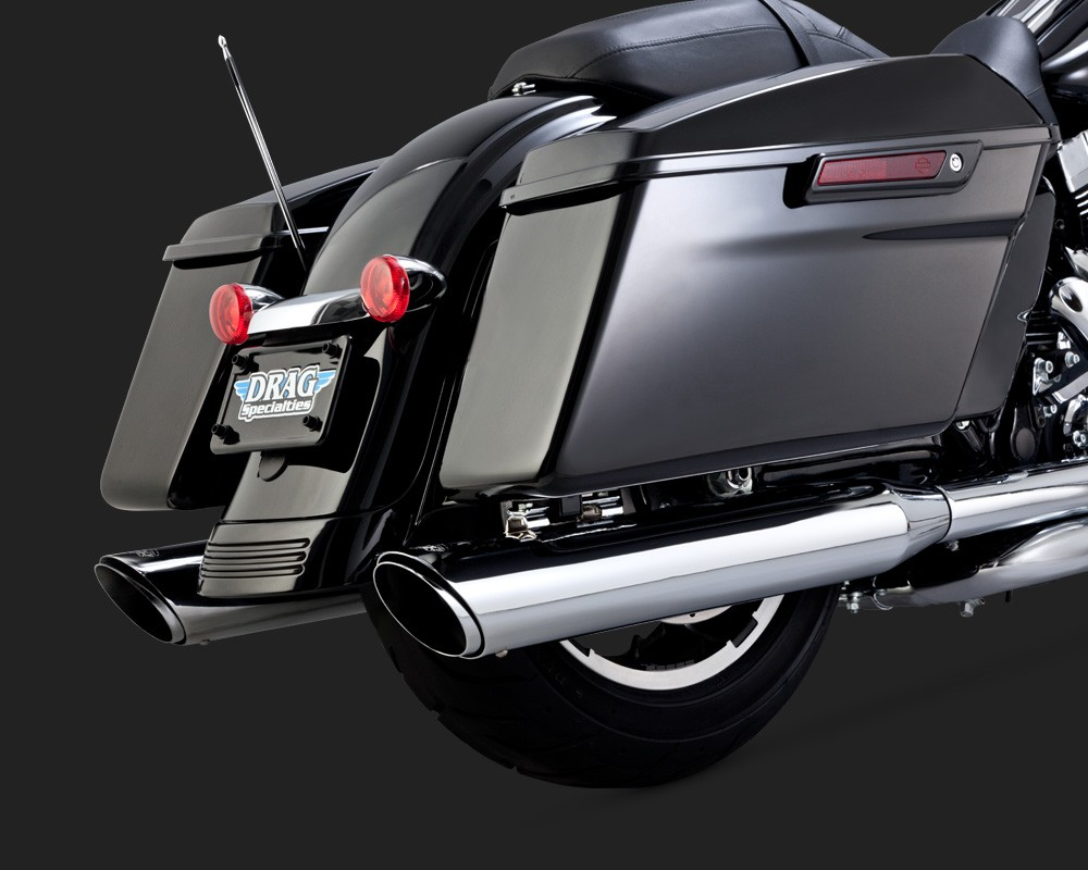 Ponteira Vance & Hines Twin Slash Round - Cromada - HD Touring Road King / Street Glide / Electra & Ultra Glide Limited 2017 em Diante - Harley Davidson
