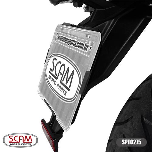 Reforço de Placa / Suporte Modelo Scam Preto - Versys 650 ano 2015 em Diante - Kawasaki