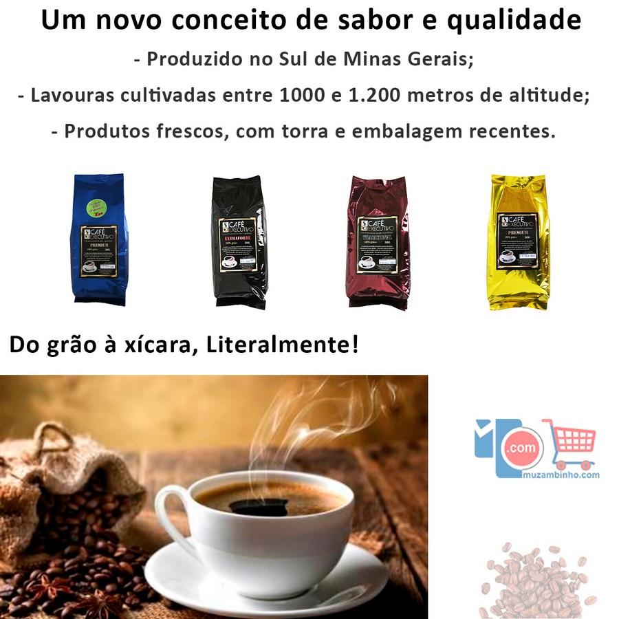 Café Executivo Extraforte Tradicional e Premium 500gr - em Grãos - 100% Arábica