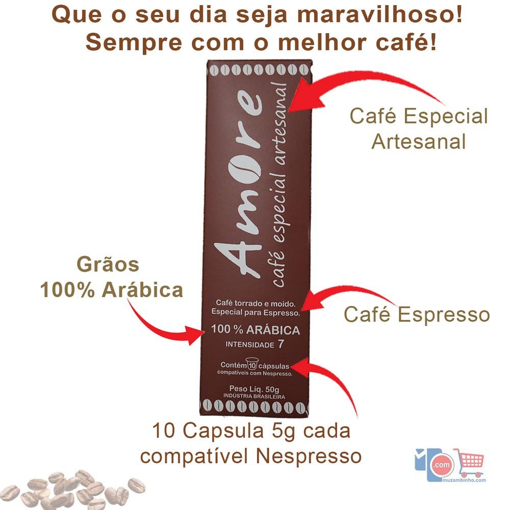 Capsula Amore Café Especial Artesanal Torrado e Moído para Espresso - 50g - 10caps