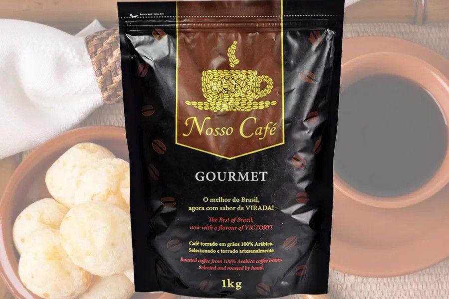 Nosso Café Gourmet em Grãos, Premium Torrado e Moído 1Kg - Carruá