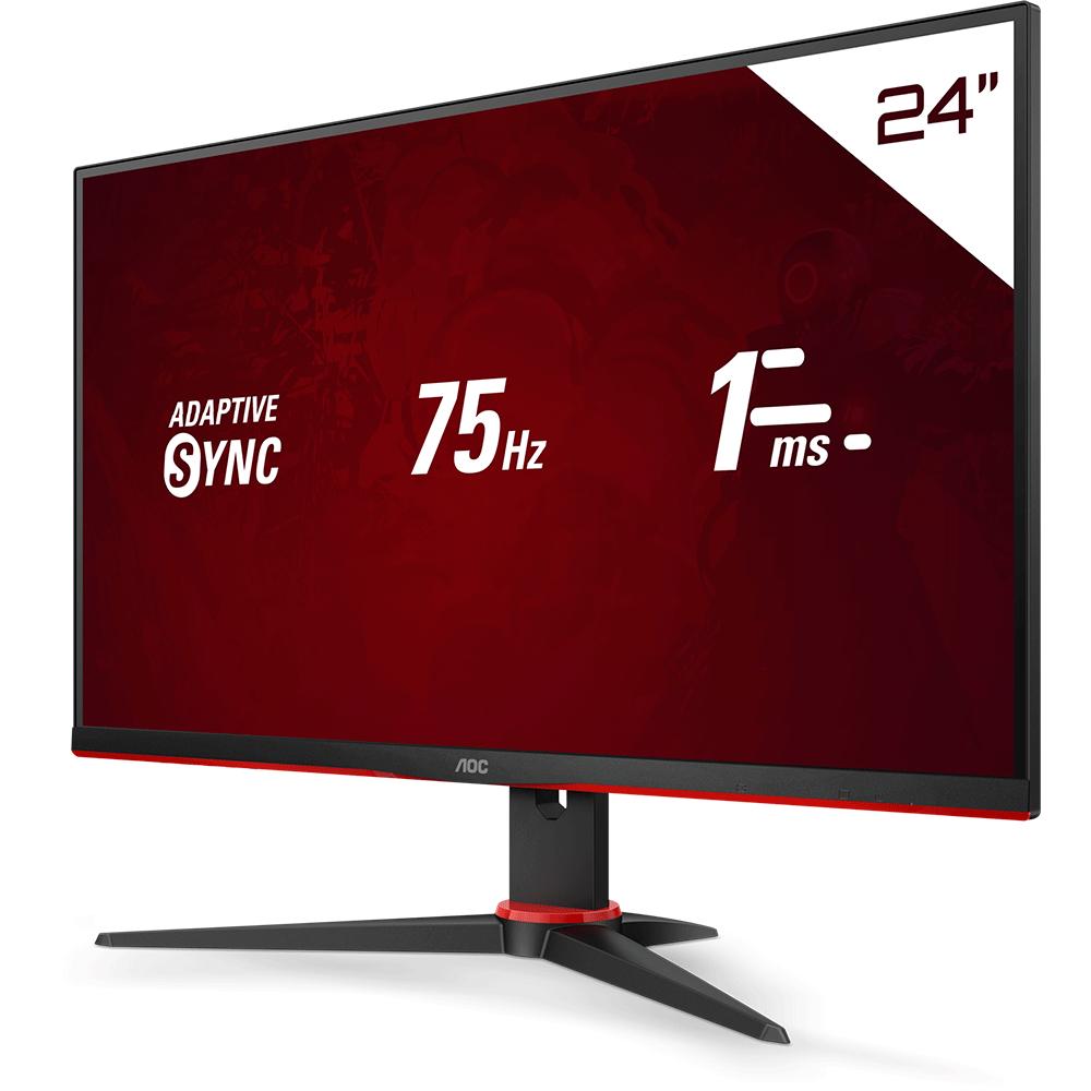 "Monitor Gamer LED 23.8"" Full HD AOC Speed 24G2HE5 IPS, 1ms, 75 Hz, Adaptive Sync, Game Mode, Shadow Control, Modo Mira, VGA e HDMI"