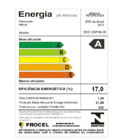 KIT 04 PAINEL SOLAR FOTOVOLTAICO BYD POLICRIS 144 CEL. 335W HALF CELL 17% EFIC