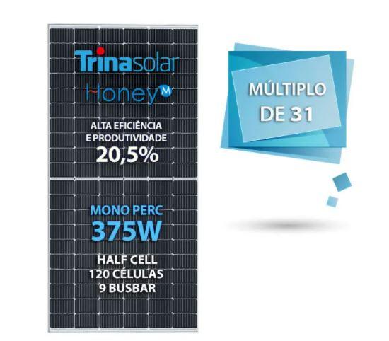 PAINEL SOLAR FOTOVOLTAICO TRINA SOLAR (121419-7) TSM-DE08MII 375W HONEY 120 CEL. MONO PERC HALF CELL 20,5% EFICIENCIA