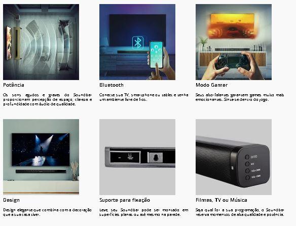 Soundbar Bluetooth 80W RMS 2.0 Canais | Projetor Brasil