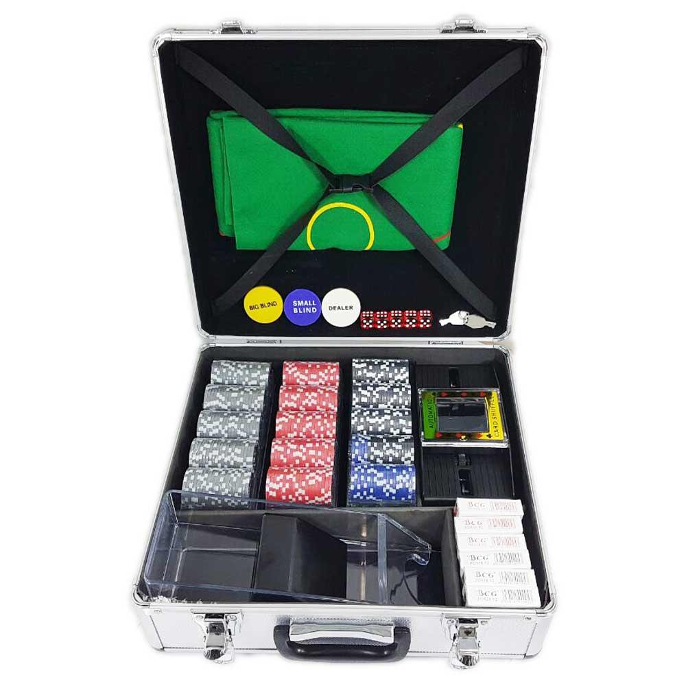 Maleta De Pôquer (jogo de poker) Com 600 Fichas Numeradas e Oficiais + Embaralhador e Dispensador De Cartas