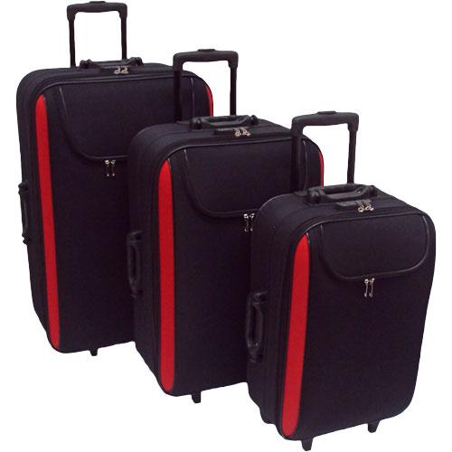 Conjunto (kit) Com 3 Malas De Viagem De Rodas Fixas