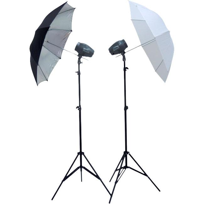 Kit Estúdio Fotográfico Com 2 Tripés + 2 Flashs + 2 Sombrinhas (difusora e refletora) + 1 Rádio Flash Com 2 Receptores
