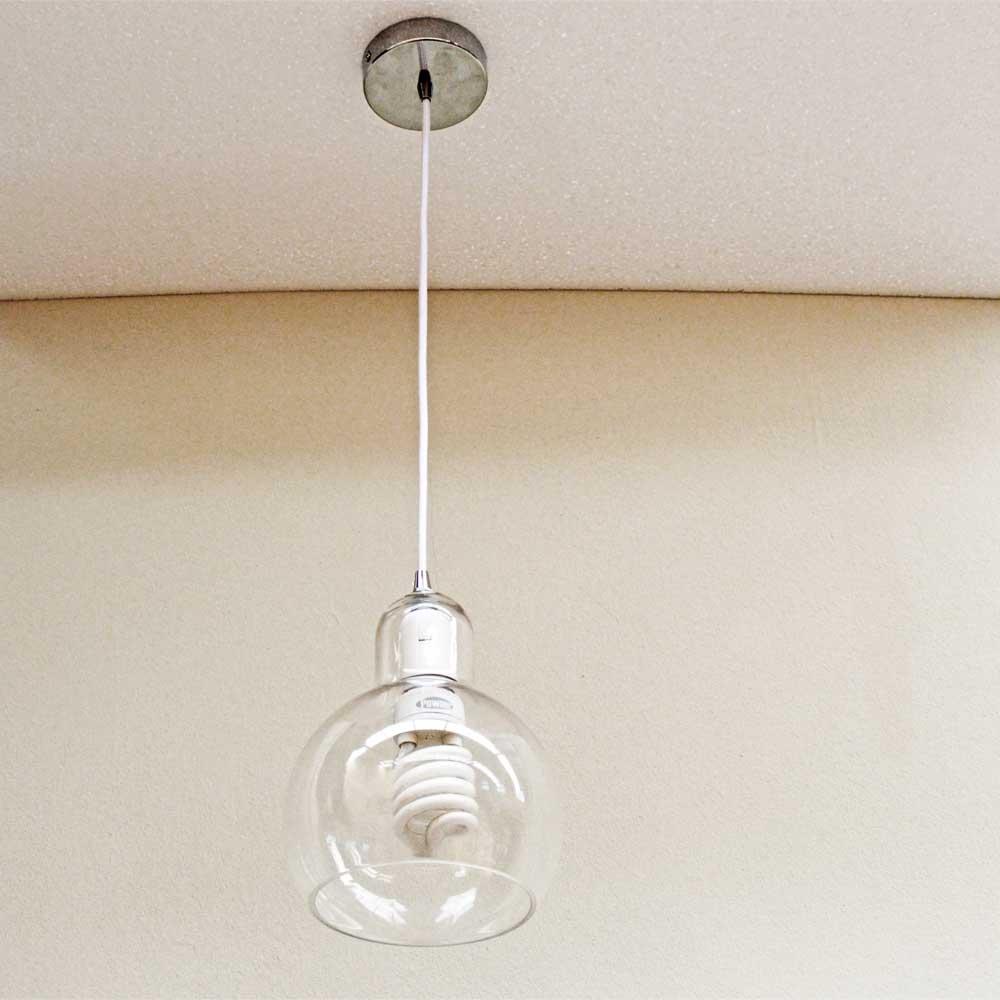 Lustre Pendente Luminária Globo De Vidro Sala Quarto Cozinha