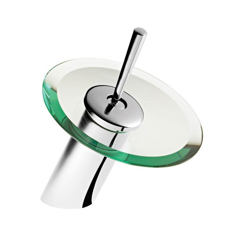 Torneira baixa cascata monocomando em vidro para banheiro lavabo