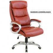 Cadeira de escrit�rio presidente em couro (PU) marrom avermelhado