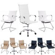 Kit Com 1 Cadeira De Escritório Com Rodinhas + 2 Cadeiras Interlocutor Em Couro PU