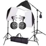 Kit Iluminação Estúdio Profissional Softbox 90x60 e 70x50 Girafa Kelter