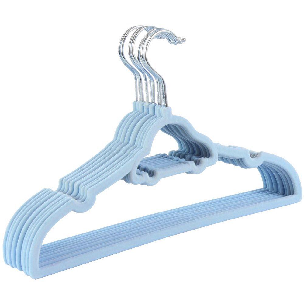 30 Cabides De Carrinho Veludo Slim Ultra Fino Aveludado Infantil Azul K-C123