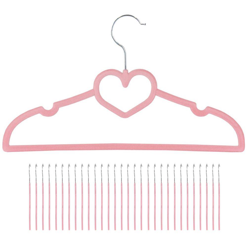 30 cabides de veludo rosa ultra fino coração infantil kelter Kc30r