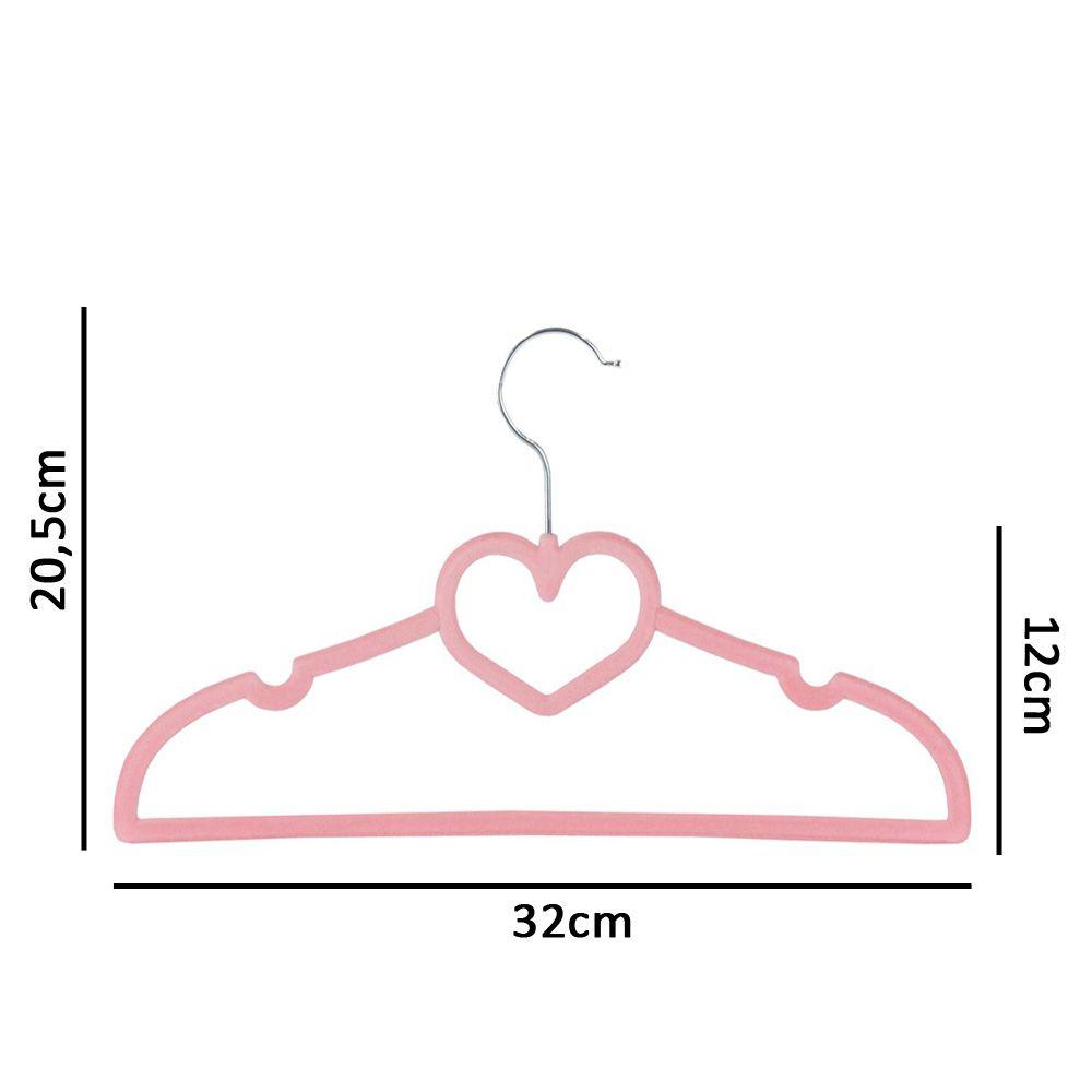 30 Cabides De Coração Veludo Slim Ultra Fino Aveludado Infantil Rosa K-C122