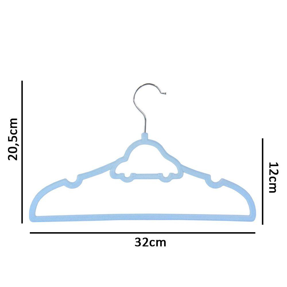 60 Cabides De Carrinho Veludo Slim Ultra Fino Aveludado Infantil Azul K-C123