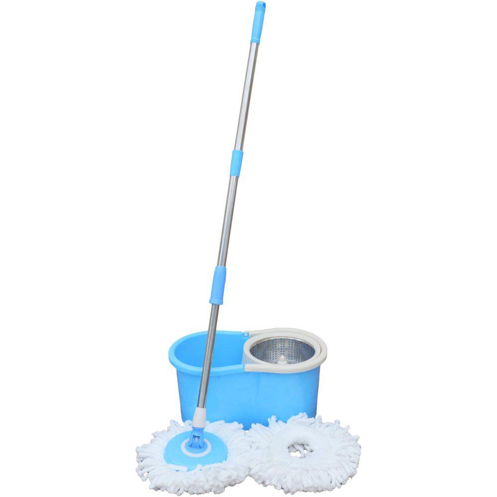 Balde e Esfregão Spin Mop Com Cesto de Inox