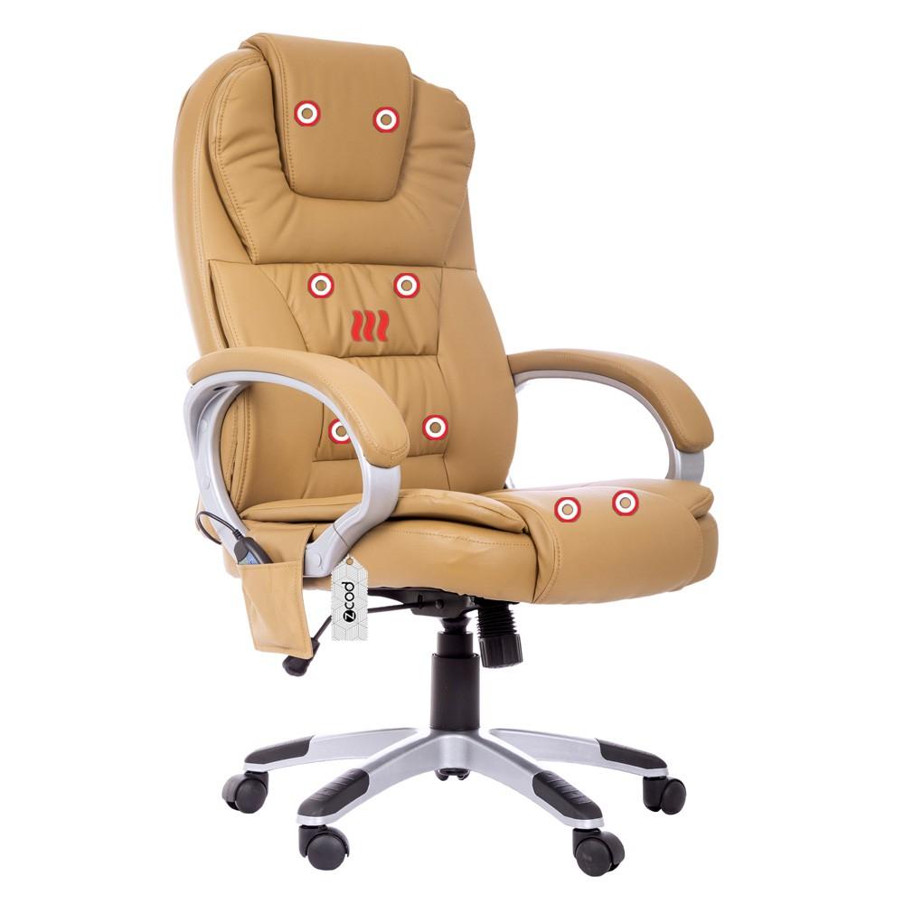 Cadeira De Escritório Presidente Com Massageador E Aquecimento Bege V402