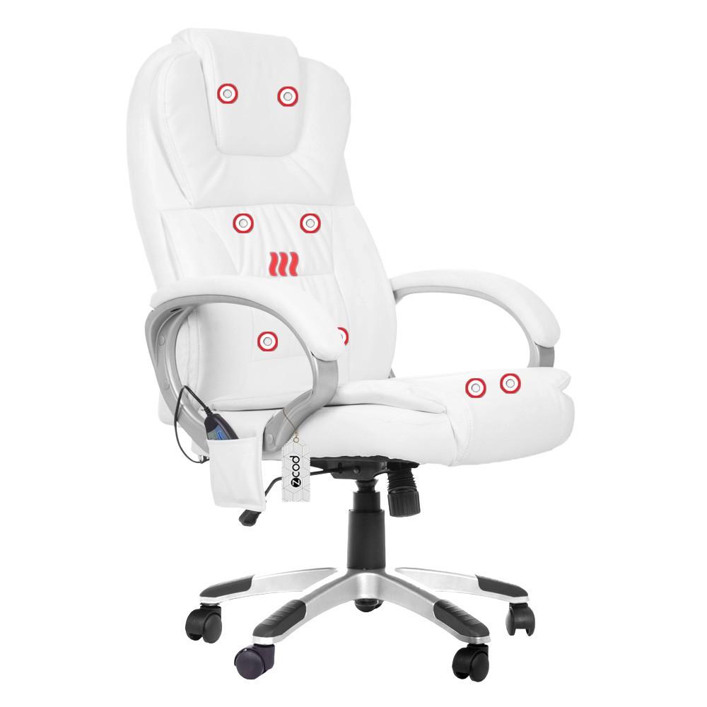 Cadeira De Escritório Presidente Com Massageador E Aquecimento Branco V405