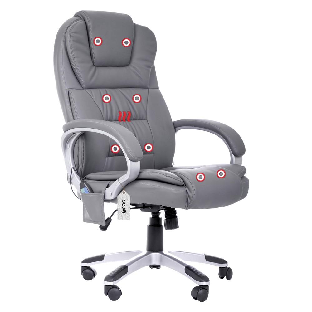Cadeira De Escritório Com Massageador Aquecimento Couro PU Cinza KC344