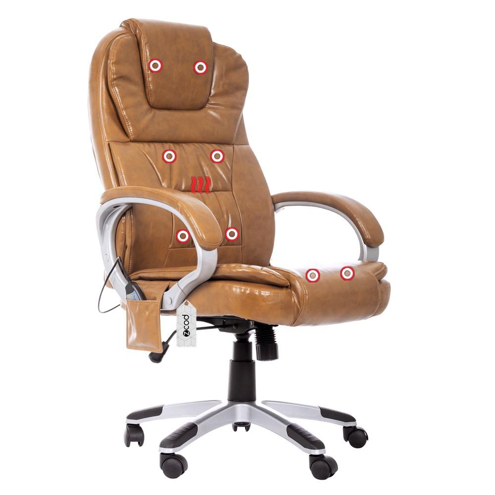Cadeira De Escritório Presidente Com Massageador E Aquecimento Marrom V403