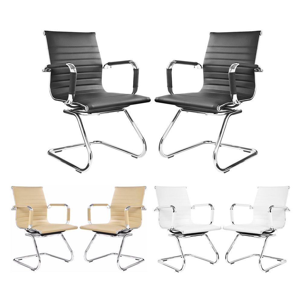 Kit com 2 cadeiras de escritório fixa interlocutor eames