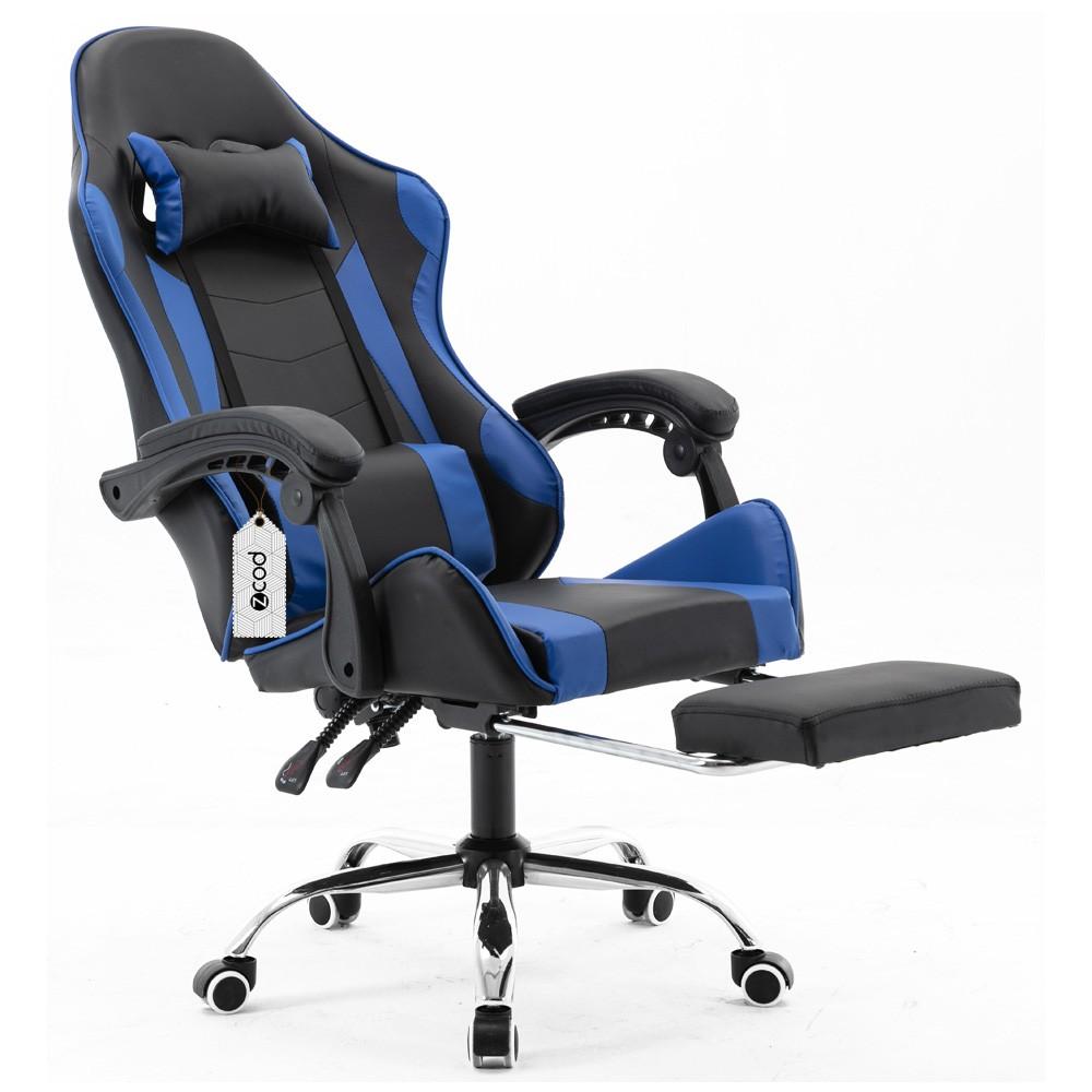 Cadeira gamer com apoio retrátil para os pés reclinável em 70° azul V7005p