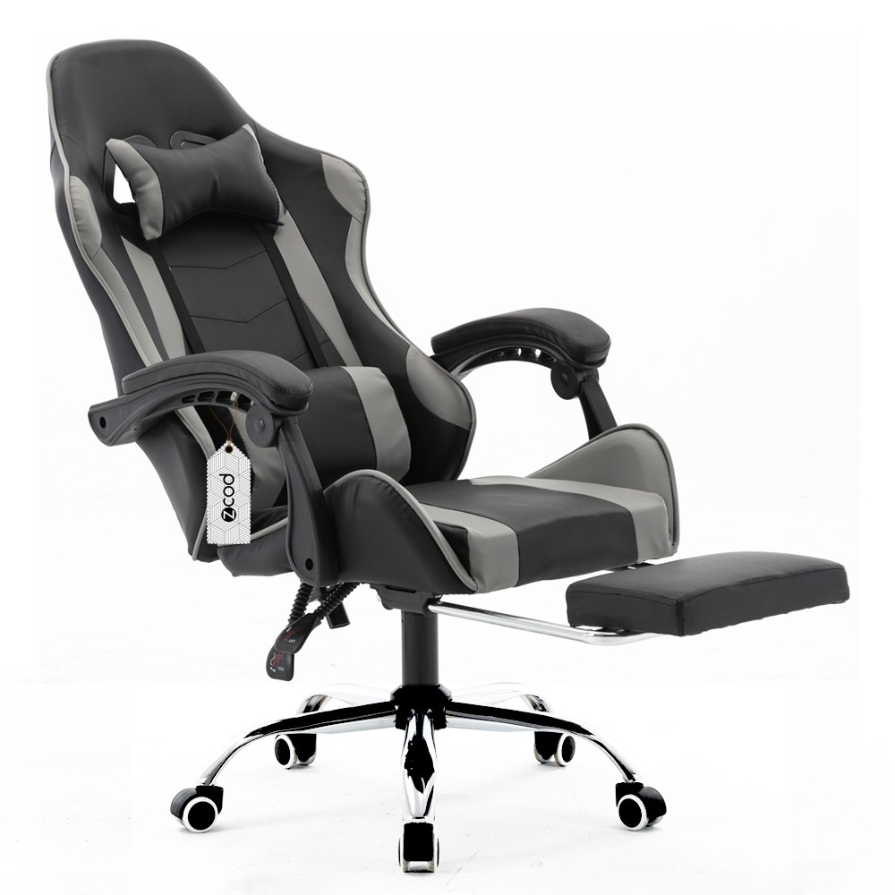 Cadeira gamer com apoio retrátil para os pés reclinável em 70° cinza V7002p