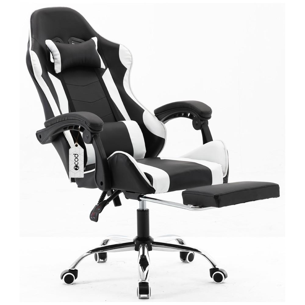 Cadeira gamer com apoio retrátil para os pés reclinável em 70° preto e branco V7007p