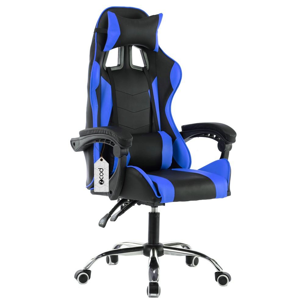 Cadeira gamer reclinável em 70° com ajuste lombar azul V705